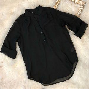 Maurice's | Black Sheer 3/4 Sleeve Pocket Blouse